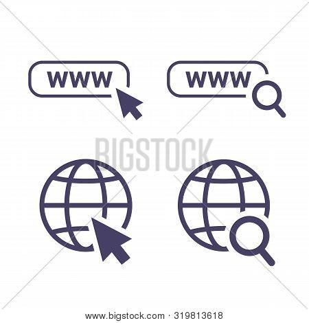 Globe Icon Symbol Set, Go To Web Icon Vector. Website, Homepage Icon Set. Icon Url, Search And Curso