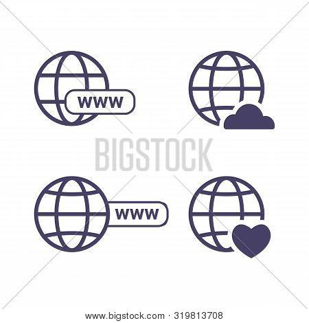 Globe Icon Symbol Set, Go To Web Icon Vector. Website, Homepage Icon Set. Icon Url, Cloud And Heart