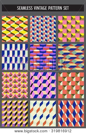 Set Of Seamless Abstract Colorful Geometrical Patterns Made In Vintage 70s Style. Vector Illustratio