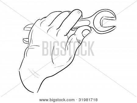 Man's hand with wrench