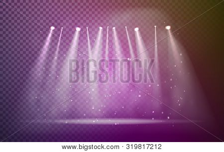Set Of Half Transparent Spotlights With Smoke. Stage With Lights. Various Stage Lights.