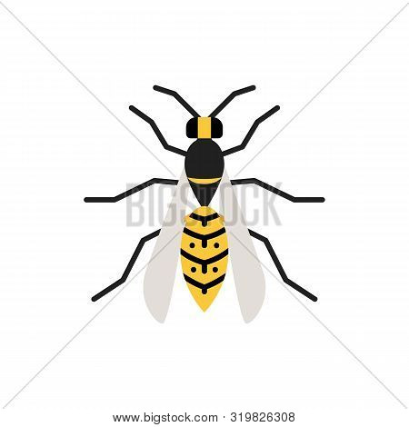 Wasp Single Flat Icon. Hornet Simple Sign In Cartoon Style. Bee Pictogram. Insect Symbol Wildlife, E
