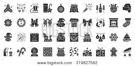 Christmas And New Year Flat Glyph Silhouette Icons Set. Xmas Symbol, Simple Shape Pictogram Collecti