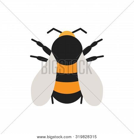 Bumblebee Single Flat Icon. Bee Simple Sign In Cartoon Style. Insect Pictogram. Wildlife Symbol. Ent