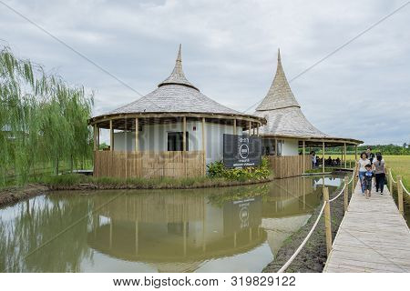 """Nakhon Pathom / Thailand - 24 Aug 2019: Chata Thammachart Coffee Cafe In A Rice Field In Concept """"wi"""