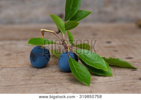Plums With Leafs On A Branch On Wooden Background