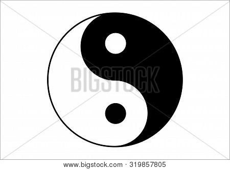 Black And White Yin And Yang Simple Icon On White Background. Concept Of Dualism In Ancient Chinese