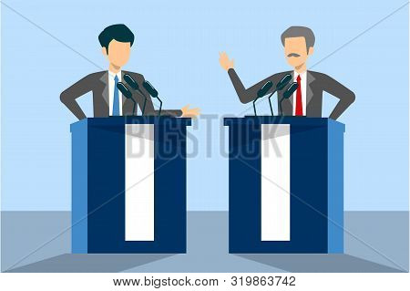 Candidate For President On Debate. Female And Male