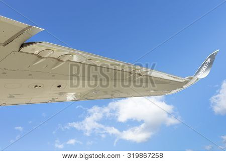 Zhukovsky, Moscow Region, Russia - August 28, 2019: A Close-up Of A Fragment Of A Wing Of An Airbus