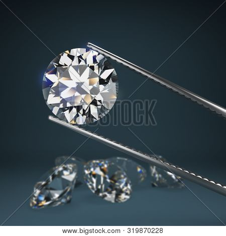 Diamond Round Cut In Tweezers. Blurred Dark Blue With A Scattering Of Diamonds. Depth Of Field. 3d I