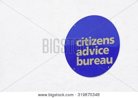 Citizens advice bureau sign at office building for foreign deportation England UK poster