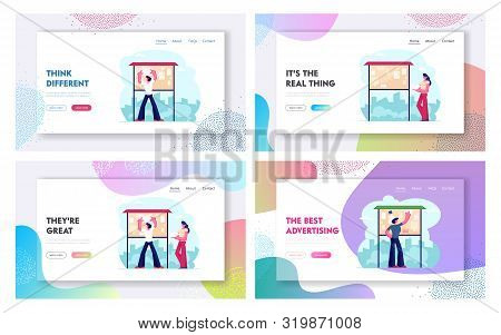 Public Advertising Website Landing Page Set. Man And Woman Sticking Paper Flyers On Bulletin Noticeb