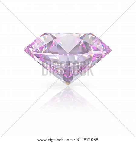 A Beautiful Pink Diamond On A White Reflective Surface. 3d Image. White Background.