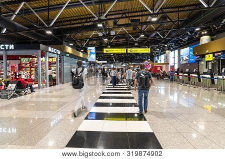 Moscow, Russia - June 26. 2019. Departure Interior In Sheremetyevo International Airport, New Termin