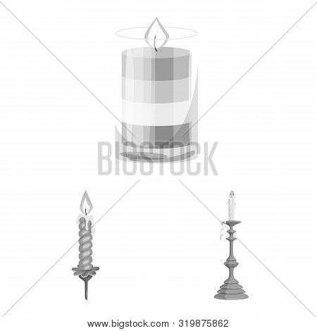 Vector Design Of Paraffin And Fire Icon. Collection Of Paraffin And Decoration Stock Symbol For Web.