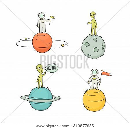 Sketch Set Of Astronauts, Aliens On Planets. Doodle Cute Scene About Space Reseach. Hand Drawn Carto