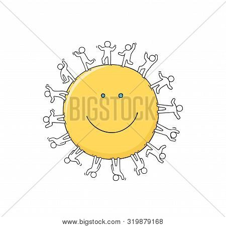 Cartoon Happy Little People Standing Around The Smile. Doodle Cute Miniature Scene Of Workers About