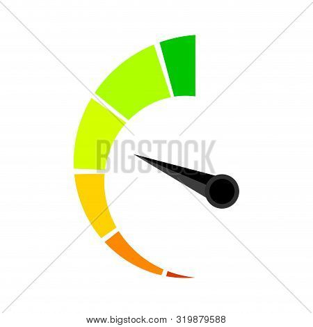Vertical Colored Speedometer Or Barometer Indicator. Illustration Indicator For Credit Solvency Vect