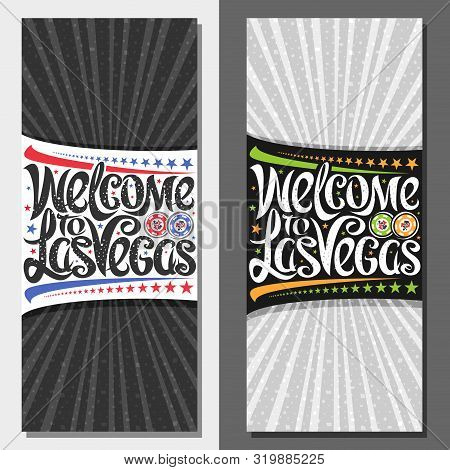 Vector Vouchers For Las Vegas With Copy Space, Decorative Coupon With Illustration Of Gambling Chips