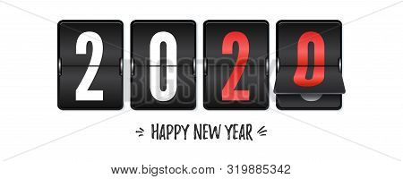 Countdown To New Year 2020. Retro Flip Clock Isolated On White Background. Counting Last Moments Bef