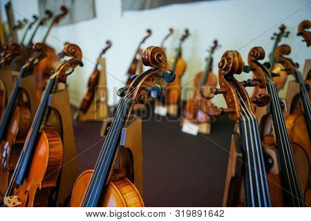 Details With Parts Of Violins Before A Symphonic Classical Concert