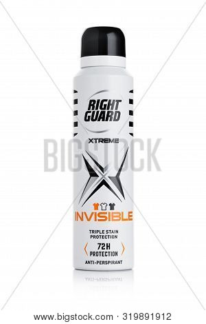 London, Uk - August 29, 2019: Right Guard Antiperspirant Extreme Triple Protection Deodorant On Whit