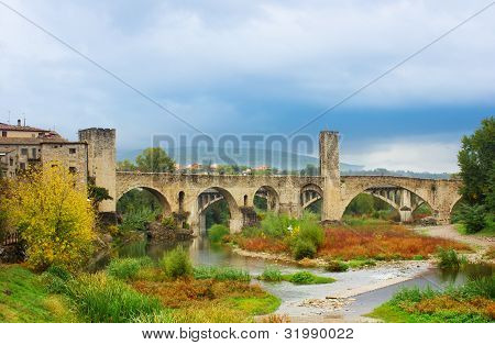 medieval bridge of Besalu, Catalonia. Spain