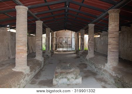 Italy, Ostia - April 16 2017: The View Of The Shrine Of The Three Naves In The Ancient Roman Port Of