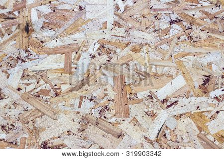 Wood Texture Background. Pressed Sawdust. Osb Boards Are Made Of Wood Chips. Top View Of Osb Wood Ve