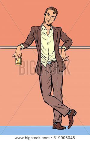 Dandy Man With A Glass Of Alcohol. Pop Art Retro Vector Illustration Drawing