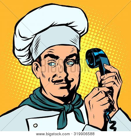 Food Delivery. Chef Takes Orders By Phone. Pop Art Retro Vector Illustration Drawing