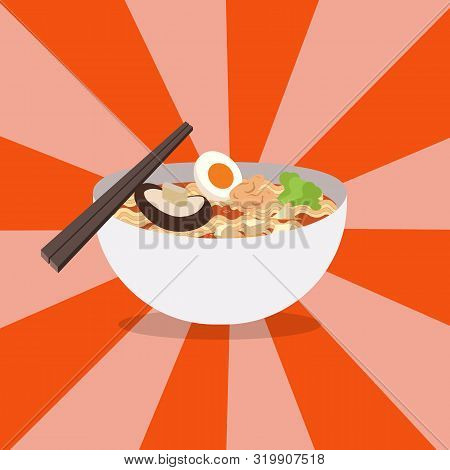 Noodles Restaurant With White Bowl Vector .ramen Japanese Noodle Soups With Shiny Background.red Bow