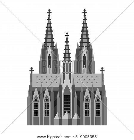 Roman Catholic Cathedral In Cologne. German Landmark Illustration.