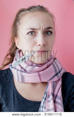 Flu Cold Grippe. Woman Having High Temperature. Sick Girl With Fever Checking Mercury Thermometer On