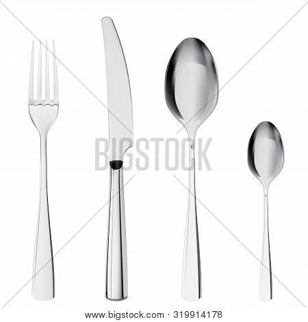 3d Realistic Cutlery Set With Table Knife, Spoon, Fork, Tea Spoon. Set Of Fork, Knife And Spoons Iso