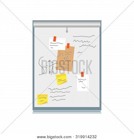 Cartoon Color Office Wall White Board Pin Note And Reminder Concept Flat Design Style. Vector Illust