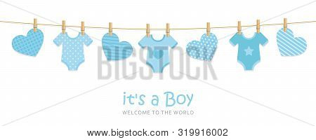 its a boy welcome greeting card for childbirth with hanging hearts and bodysuits vector illustration EPS10 poster