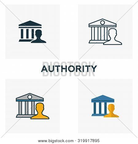 Authority Icon Set. Four Elements In Diferent Styles From Content Icons Collection. Creative Authori