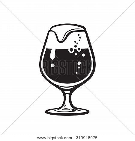 Snifter Beer Glass. Hand Drawn Vector Illustration Isolated On White Background.