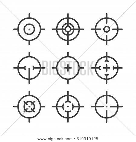 Black Line Icons Set Of Targets And Destination. Aim Signs. Targeting And Aiming Pictograms. Sniper