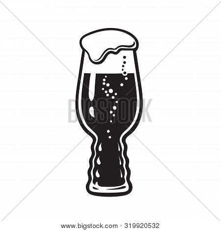 Ipa Beer Glass. India Pale Ale Glass. Hand Drawn Vector Illustration Isolated On White Background.