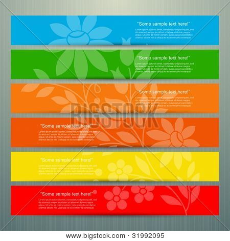 Colorful banner set with flower, vector
