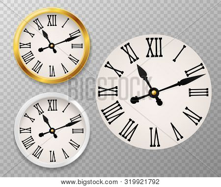 Retro Clock Face. Tower Wall Clocks With Roman Numerals And Antique Classic Hands In Golden And Whit