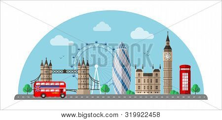 London Cityscape Flat Vector Illustration. Great Britain Tourist Attractions Cliparts. World Famous