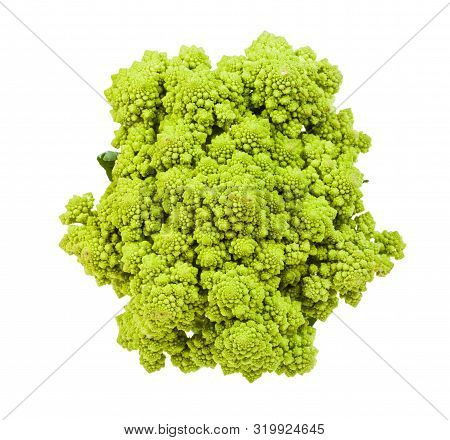 Top View Of Fresh Romanesco Broccoli Isolated On White Background