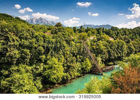 Heroic Destroyed Bridge In Jablanica Above Neretva River In Bosnia And Herzegovina