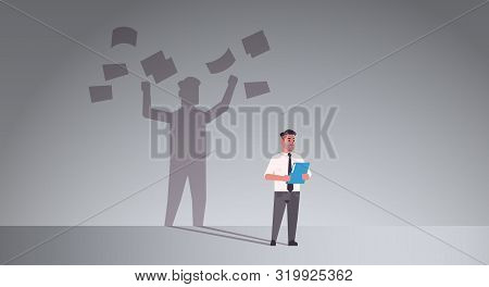 Busy Businessman Holding Folder Shadow Of Business Man Throwing Paper Documents Overvorked Aspiratio
