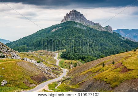 High Peak Puzim With Tar Road In Bosnia And Herzegovina