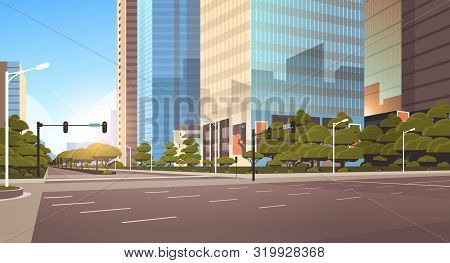 Beautifil City Street Asphalt Road With Traffic Light High Skyscrapers Modern Cityscape Background F