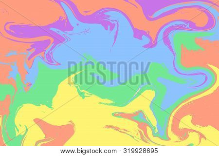 The Style Of Ebru. Green Orange, Blue, Lilac And Yellow Colors. Hand Drawn Vector Background. Fashio